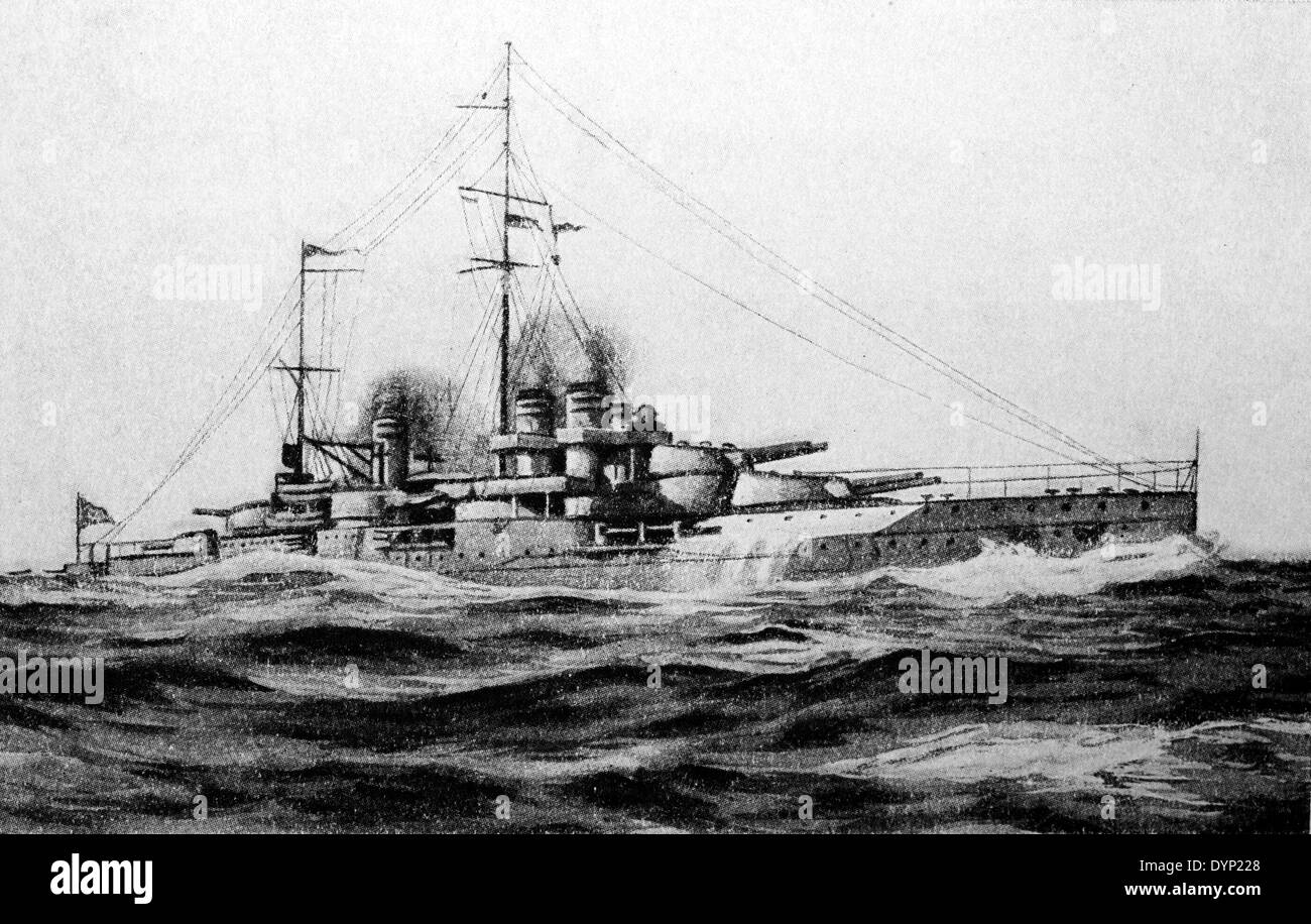 French battleship Jean Bart (1911), illustration from Soviet encyclopedia, 1927 - Stock Image