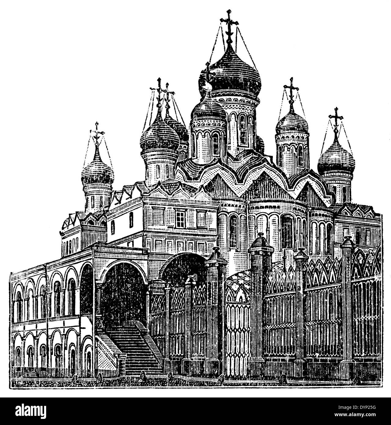 Annunciation cathedral of Moscow Kremlin (1490), Moscow, Russia, illustration from Soviet encyclopedia, 1927 - Stock Image