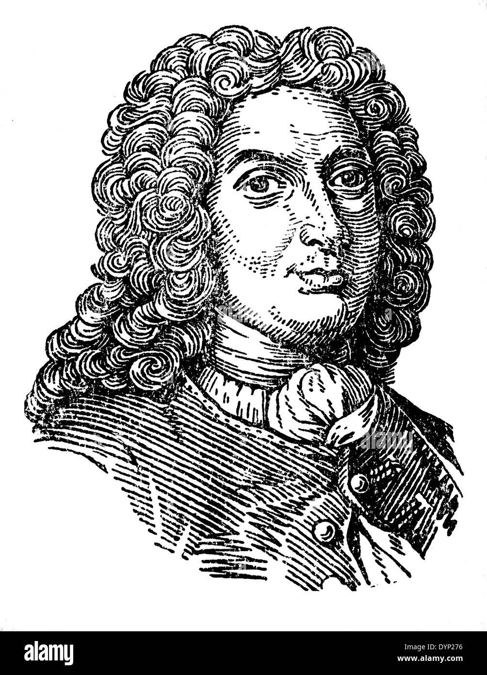 Johann Bernoulli (1667-1748), Swiss mathematician, illustration from Soviet encyclopedia, 1927 - Stock Image