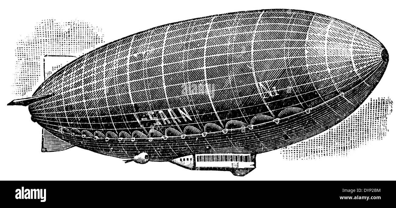 Norge airship (1926), Italy, illustration from Soviet encyclopedia, 1926 - Stock Image