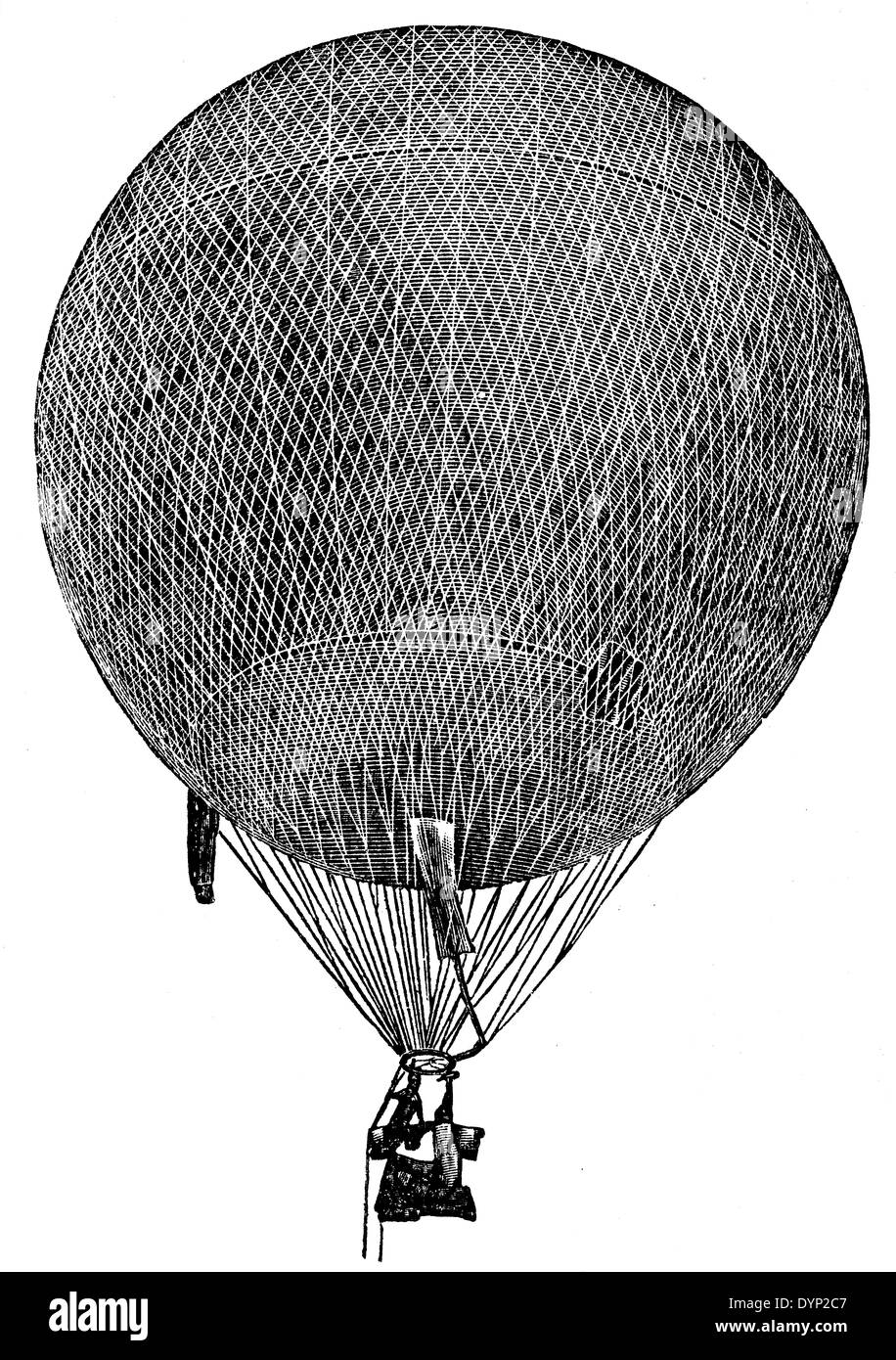 19th century aerostat, illustration from Soviet encyclopedia, 1926 - Stock Image