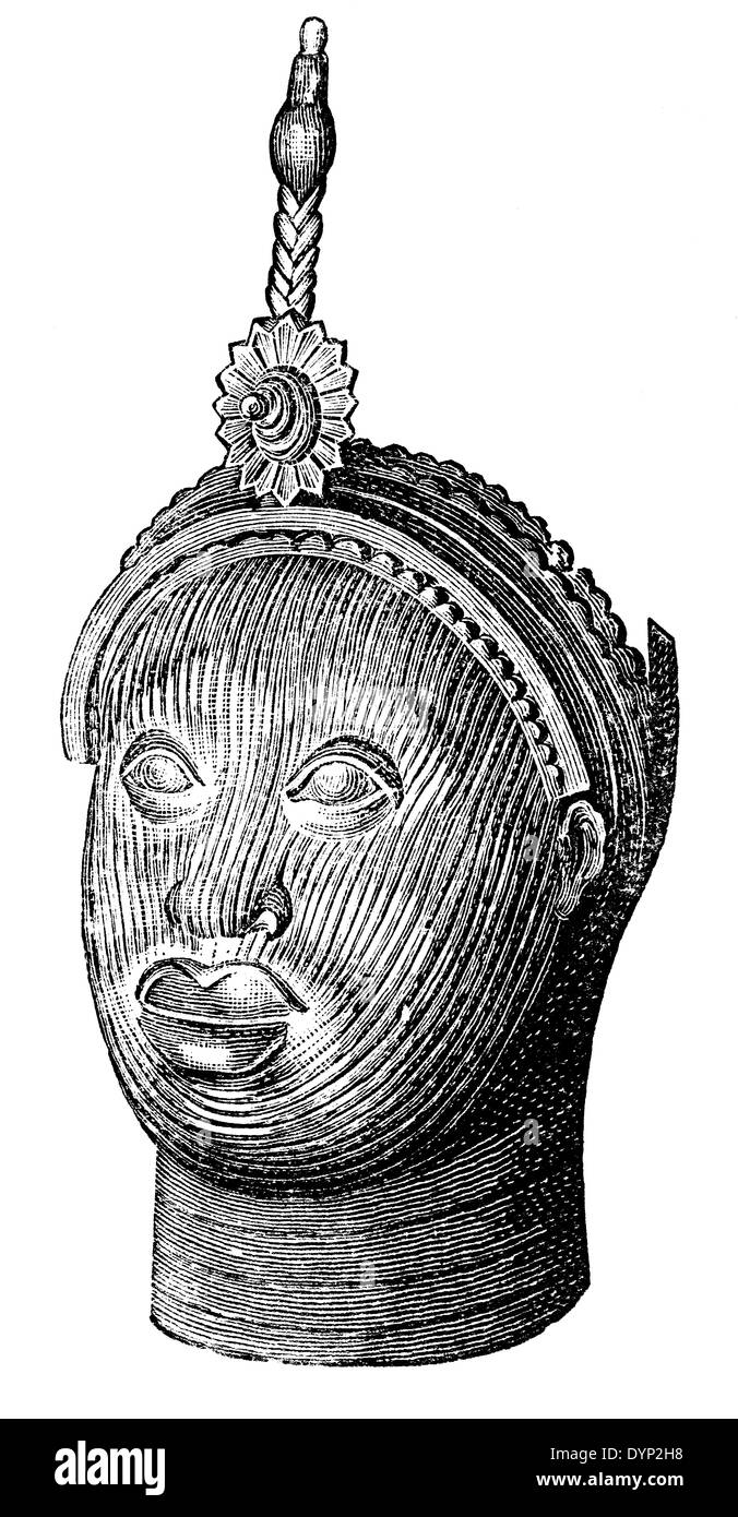 Yoruba tribal art, Nigeria, illustration from Soviet encyclopedia, 1926 - Stock Image