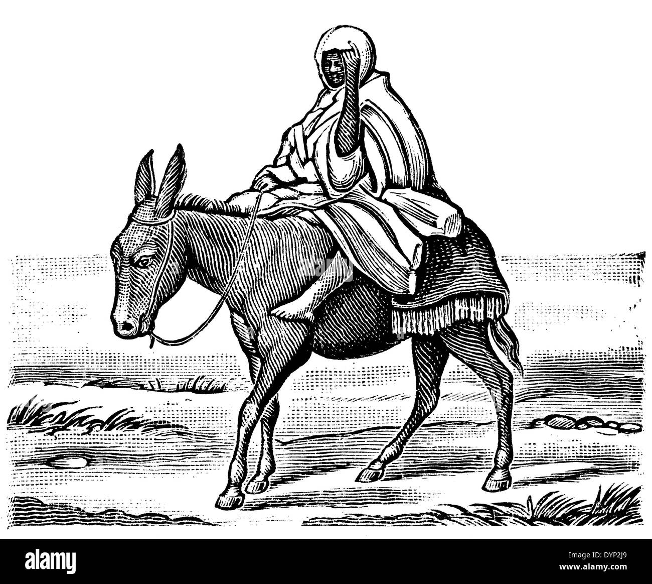 Man in traditional dress riding donkey, illustration from Soviet encyclopedia, 1926 - Stock Image