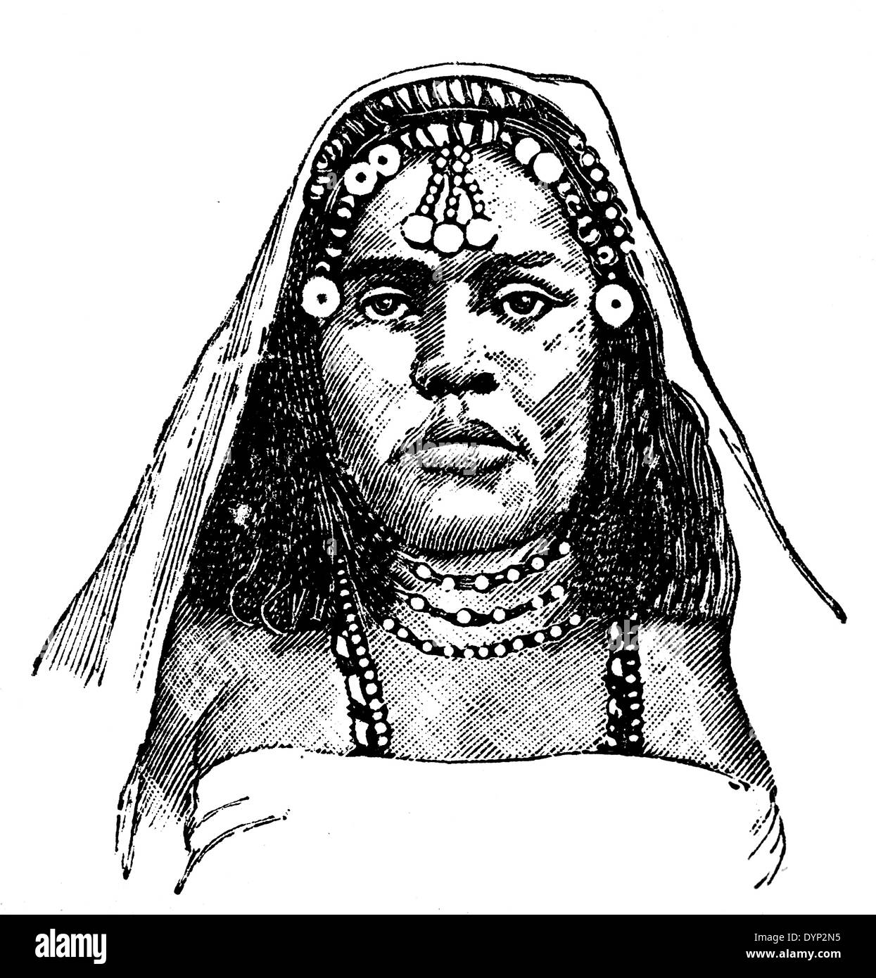 Oromo woman (Ethiopia) in traditional dress, illustration from Soviet encyclopedia, 1926 - Stock Image