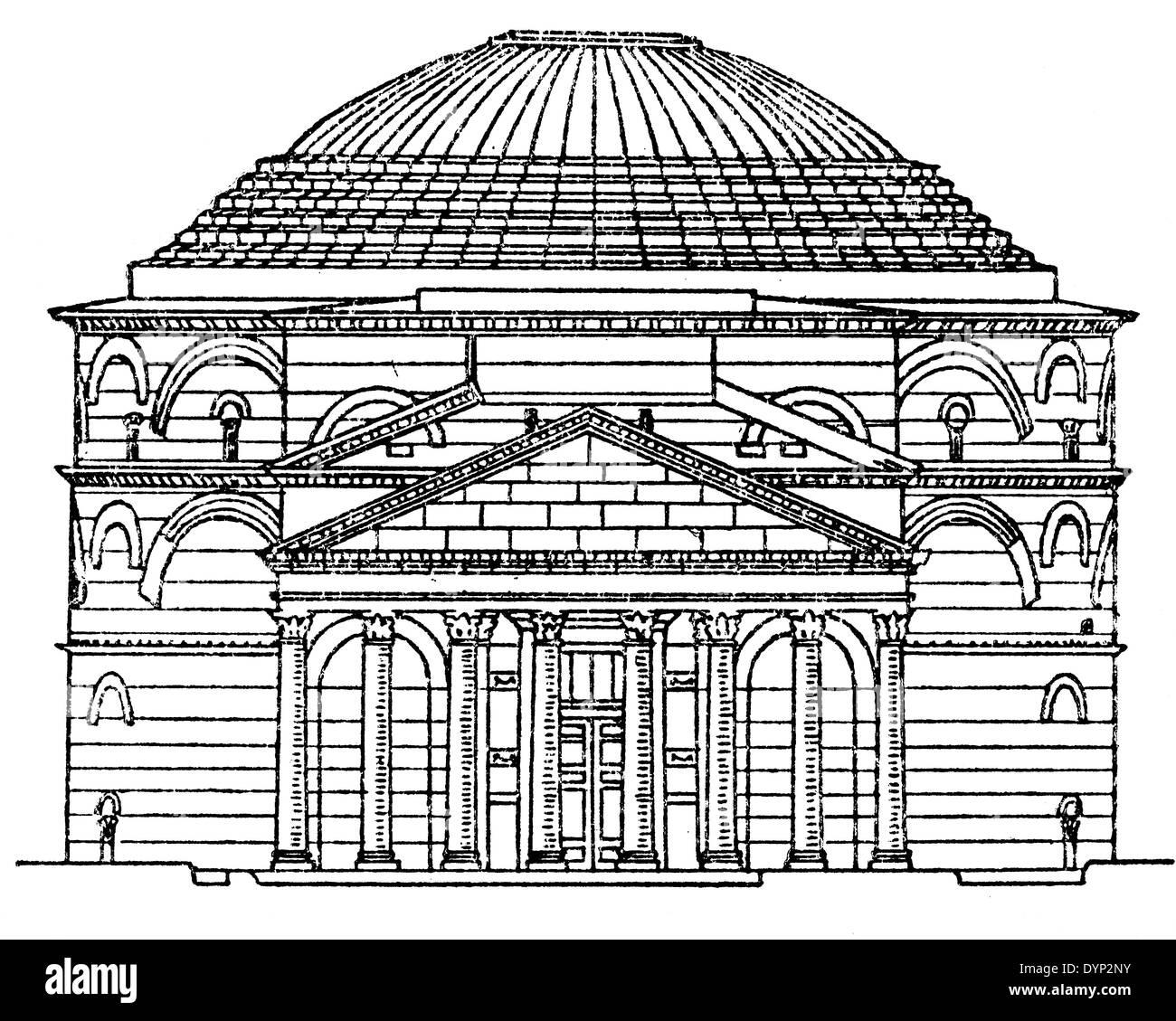 Pantheon, Rome, illustration from Soviet encyclopedia, 1926 - Stock Image