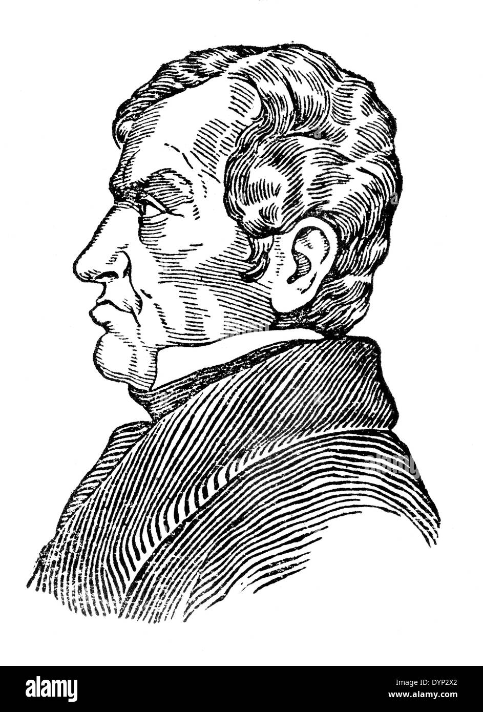 Andre-Marie Ampere (1775-1836), French physicist and mathematician, illustration from Soviet encyclopedia, 1926 - Stock Image