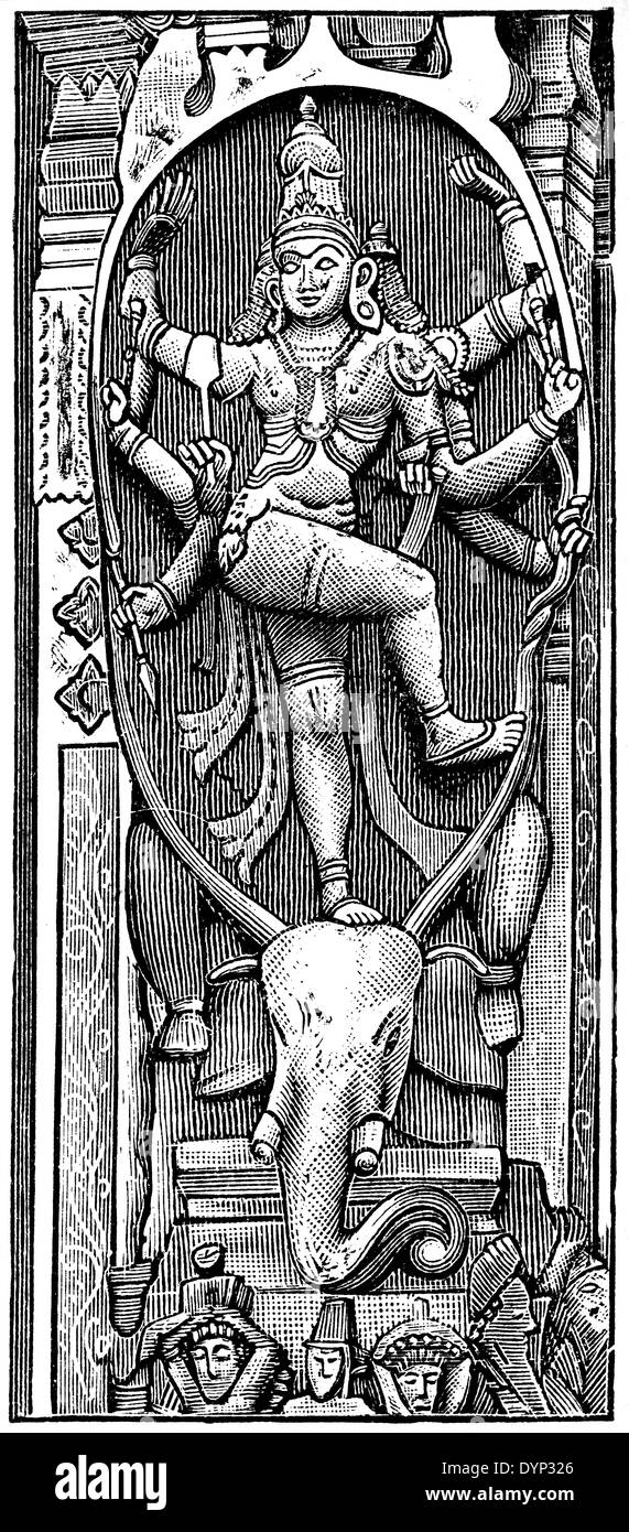 Medieval stone relief with Shiva, India, illustration from Soviet encyclopedia, 1926 - Stock Image