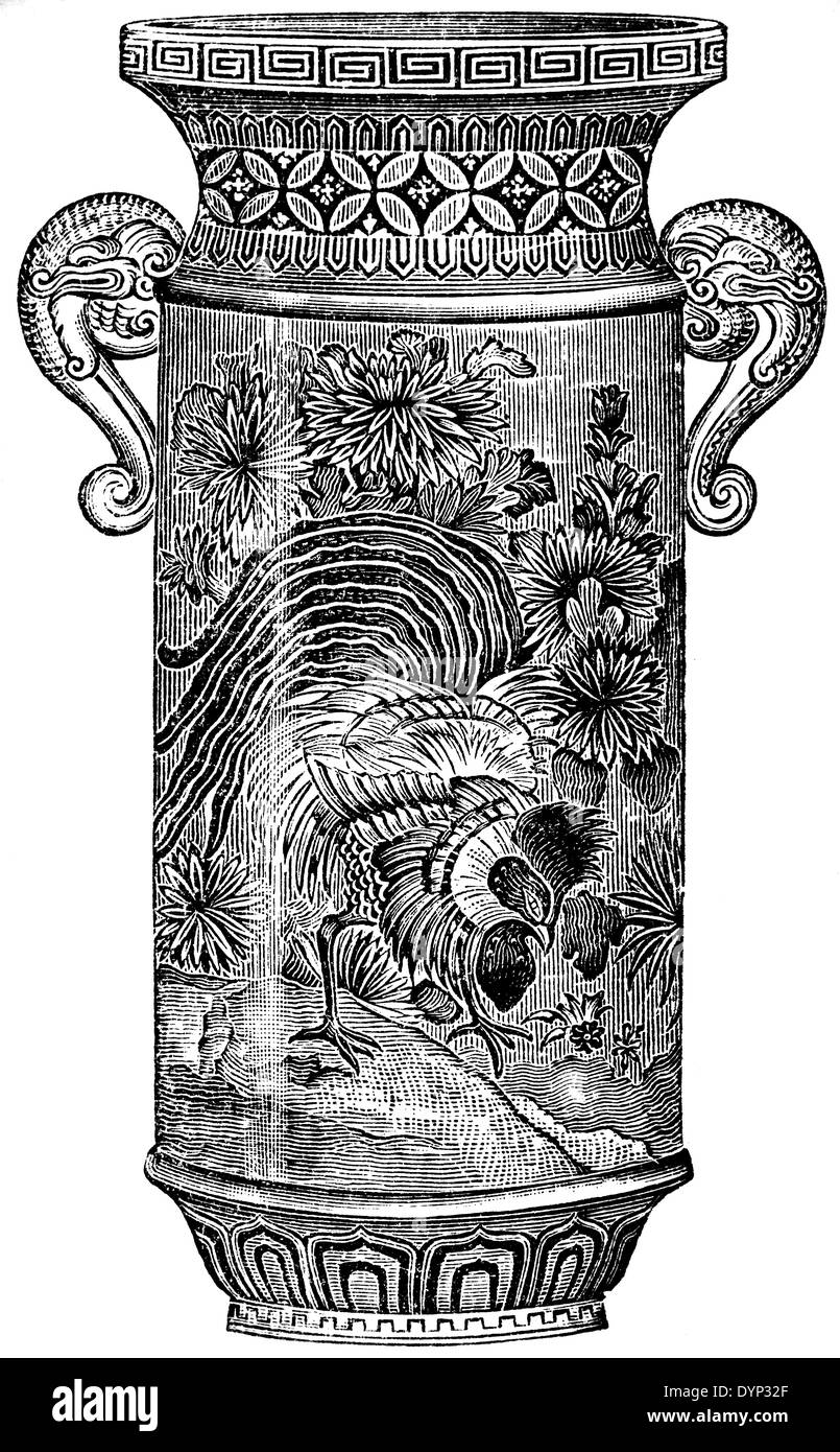 Porcelain ware, Japan, illustration from Soviet encyclopedia, 1926 - Stock Image