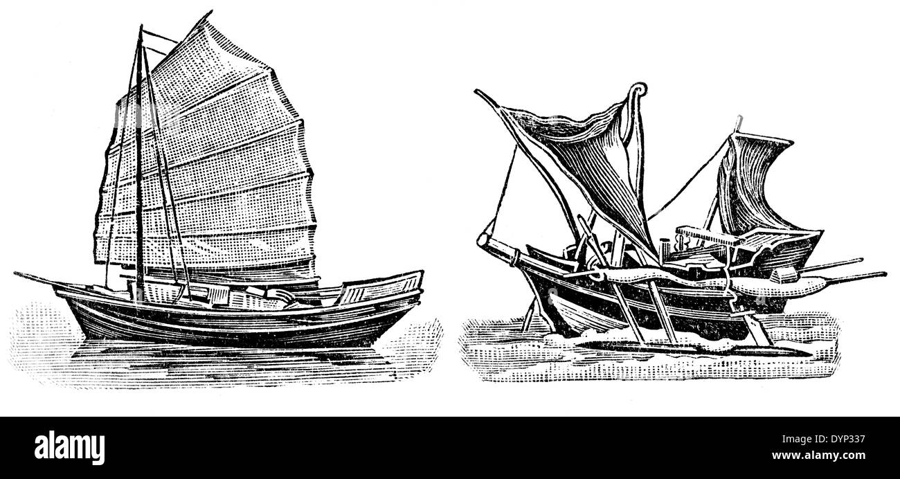 Junk and outrigger sailboats, illustration from Soviet encyclopedia, 1926 - Stock Image