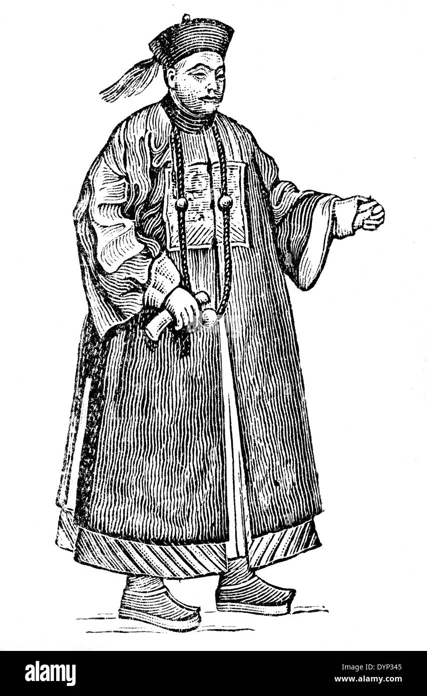Chinese man in vintage dress, illustration from Soviet encyclopedia, 1926 - Stock Image