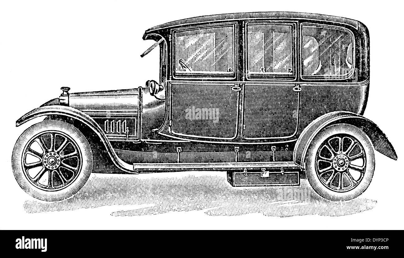 Vintage car (1920s), illustration from Soviet encyclopedia, 1926 ...
