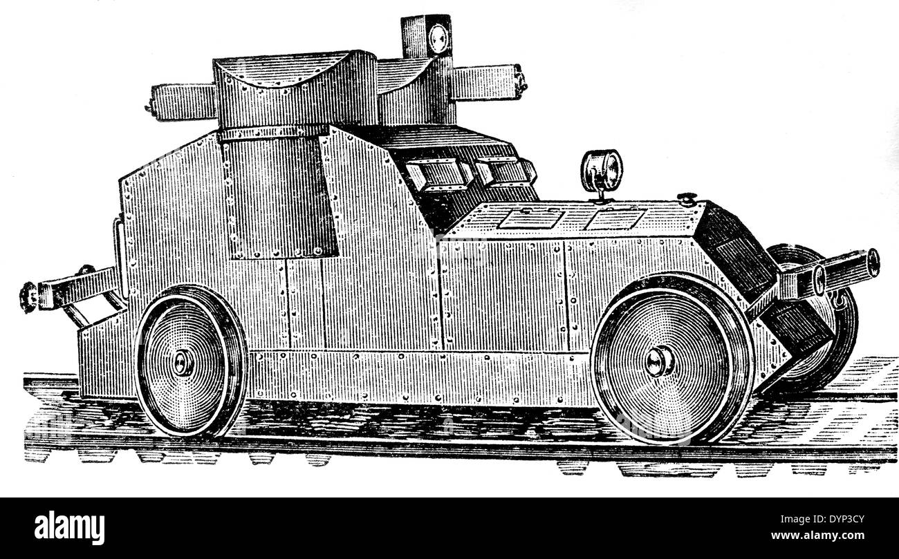 Vintage armored car, illustration from Soviet encyclopedia, 1926 - Stock Image
