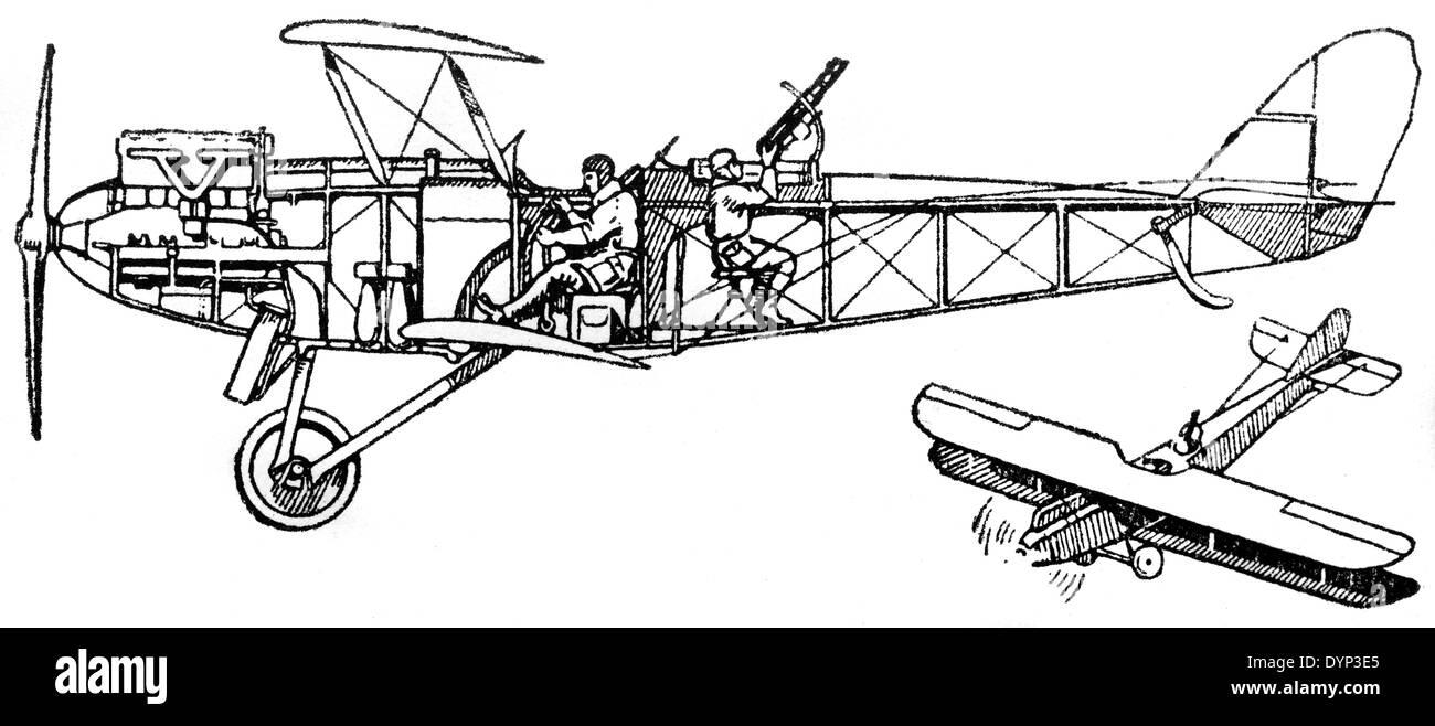 Vintage de Havilland scout airplane, illustration from Soviet encyclopedia, 1926 - Stock Image