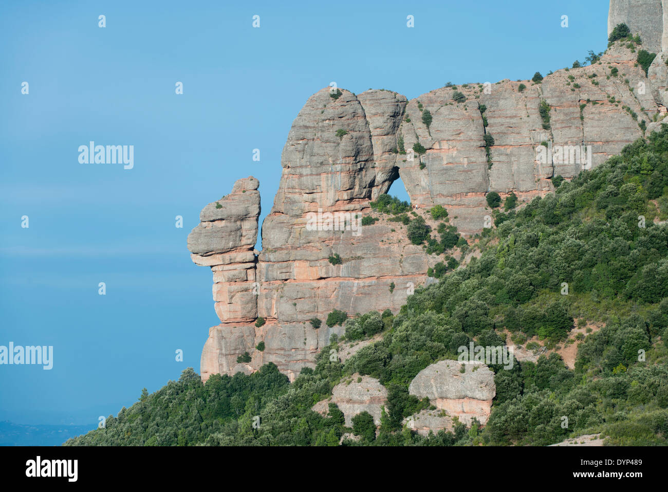 Detail known as the Little Chair with rock hole in the Montserrat mountain range, Catalonia, Spain - Stock Image