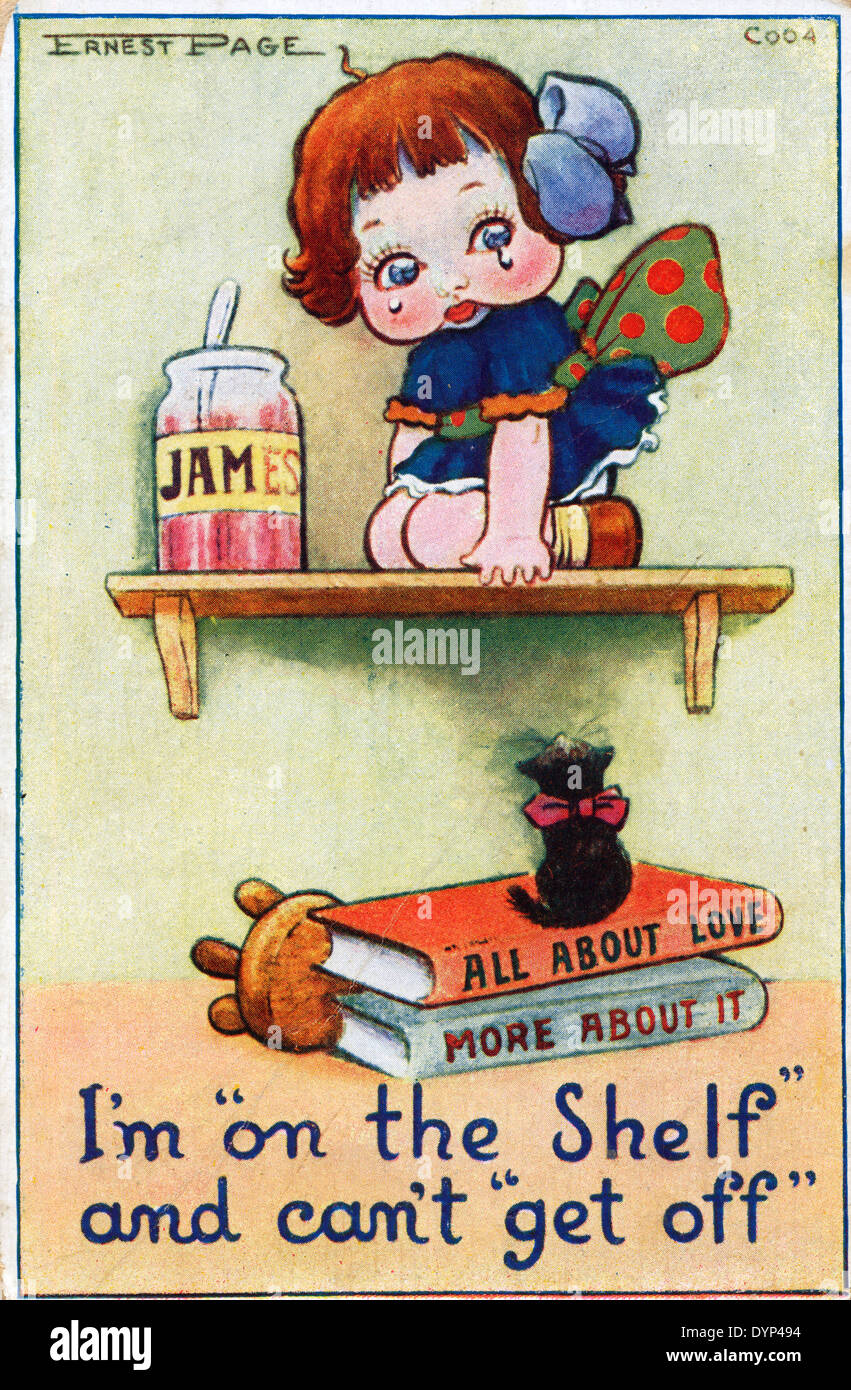'I'm on the Shelf' and can't 'get off' old cute vintage sentimental English postcard about LOVE UK   KATHY DEWITT - Stock Image