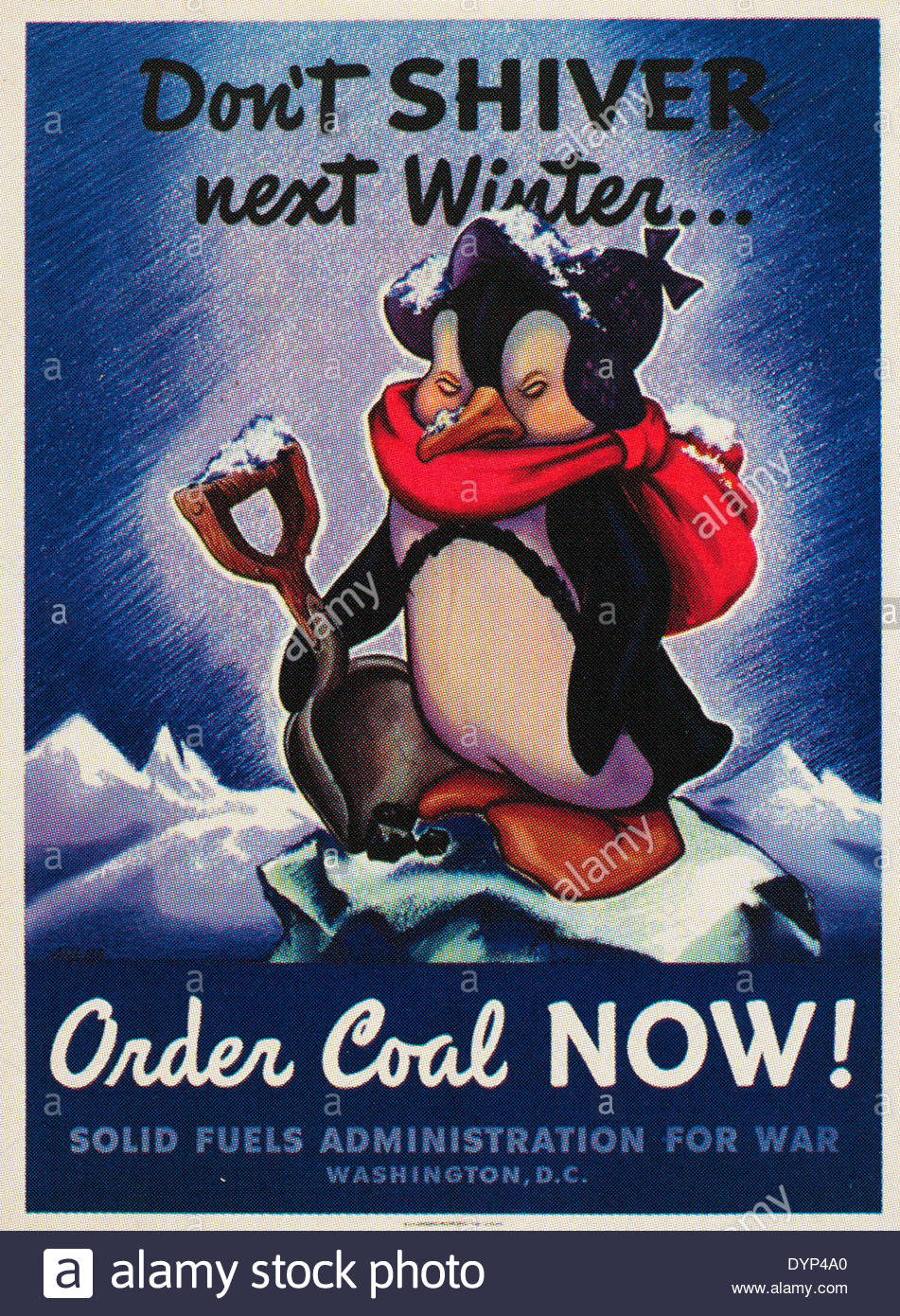 World war two poster issued by the solid fuels administration to order coal early in preparation. EDITORIAL ONLY - Stock Image