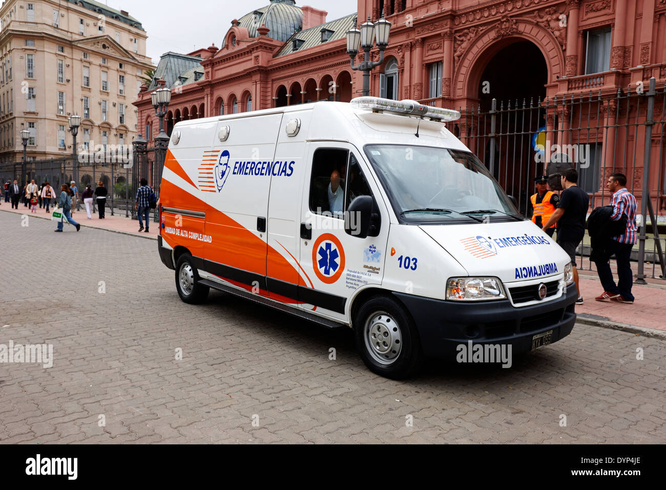 emergency ambulance downtown Buenos Aires Argentina - Stock Image