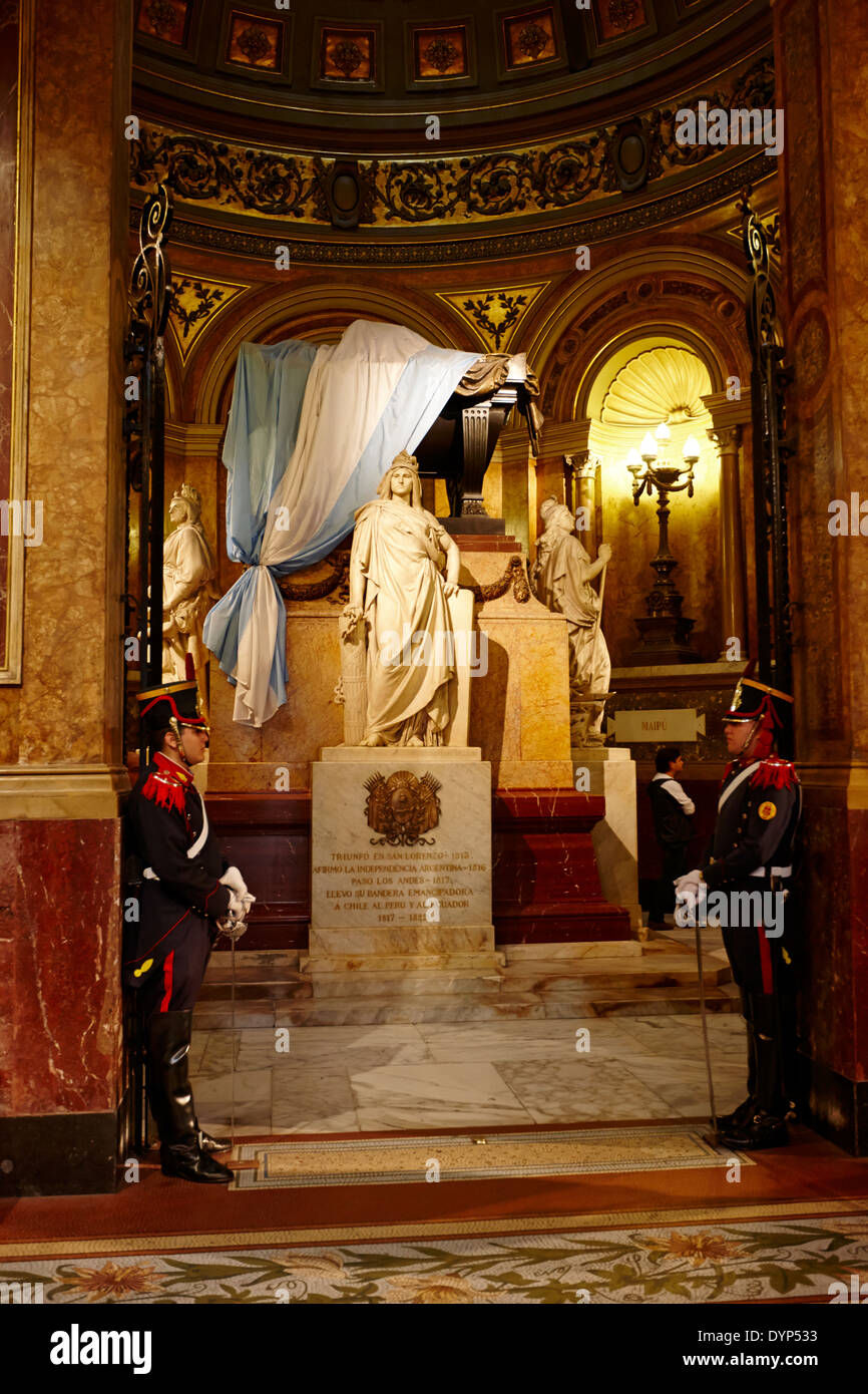 guards at the mausoleum of general san martin inside catedral metropolitana de Buenos Aires metropolitan cathedral Argentina - Stock Image