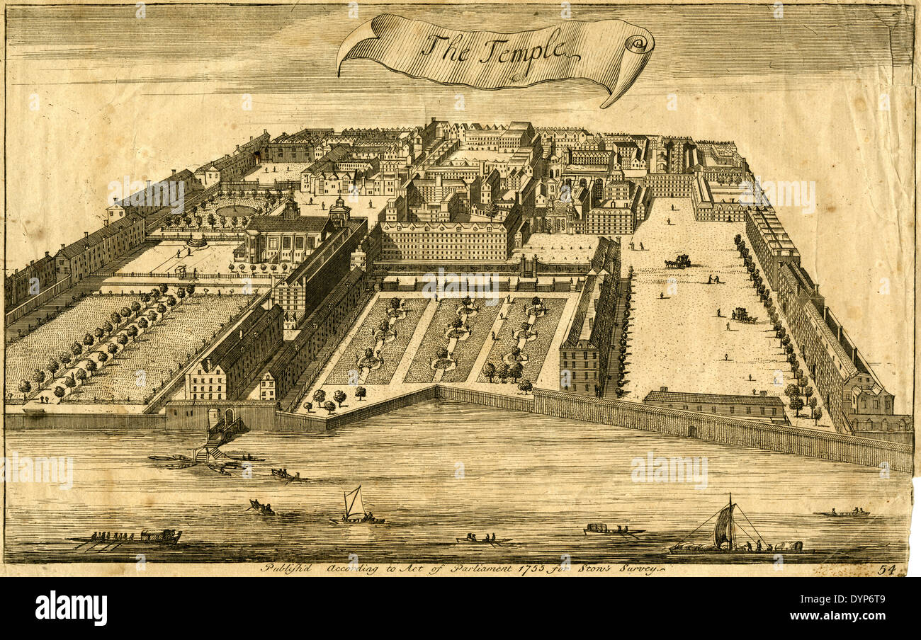 Antique 1755 engraving, The Temple in London, England on the River Thames, by John Stow. - Stock Image