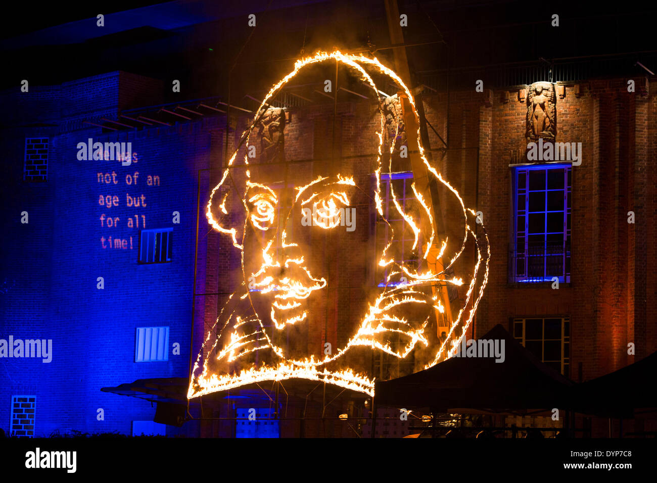 Stratford upon Avon, UK. 23rd April 2014. A firework display at the Royal Shakespeare Theatre in Stratford-Upon-Avon begins the celebrations for William Shakespeare's 450th birthday anniversary. The display culminated in a flaming portrait in front of the theatre. Credit:  Andrew Fox/Alamy Live News - Stock Image
