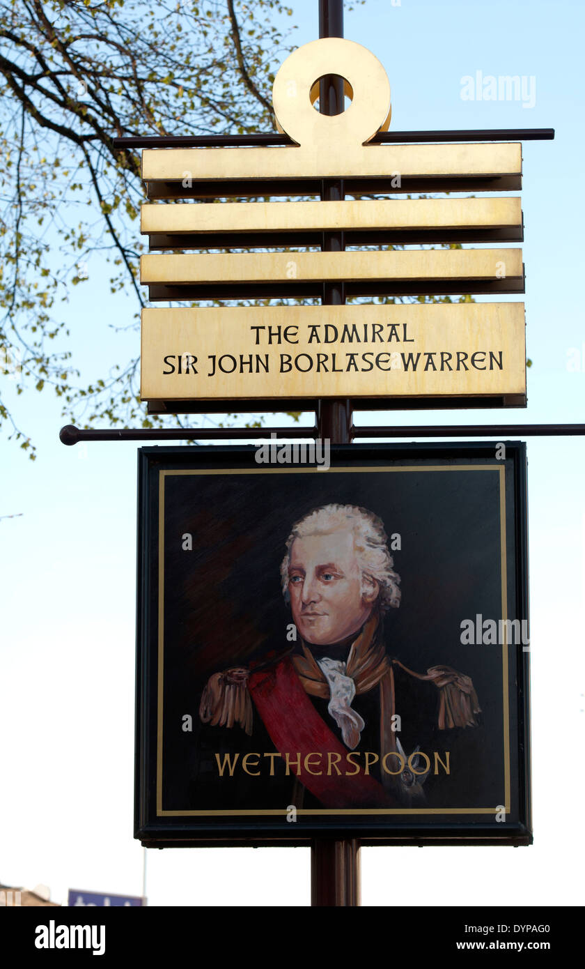 The Admiral Sir John Borlase Warren pub sign, Stapleford, Nottinghamshire, England, UK - Stock Image