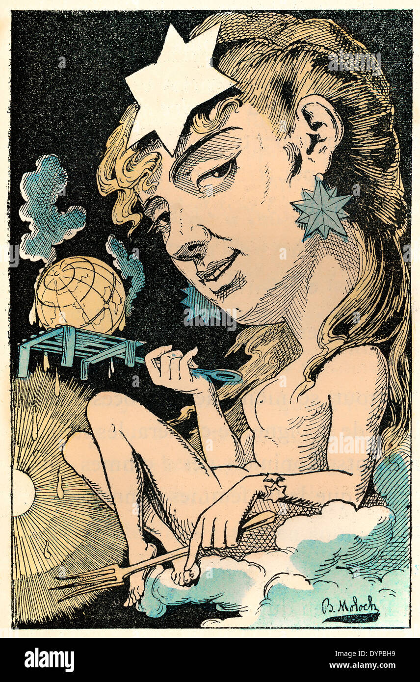 Global warming personified as Mathilde-Frédégonde Canicule, political caricature, 1882, by Alphonse Hector Colomb - Stock Image