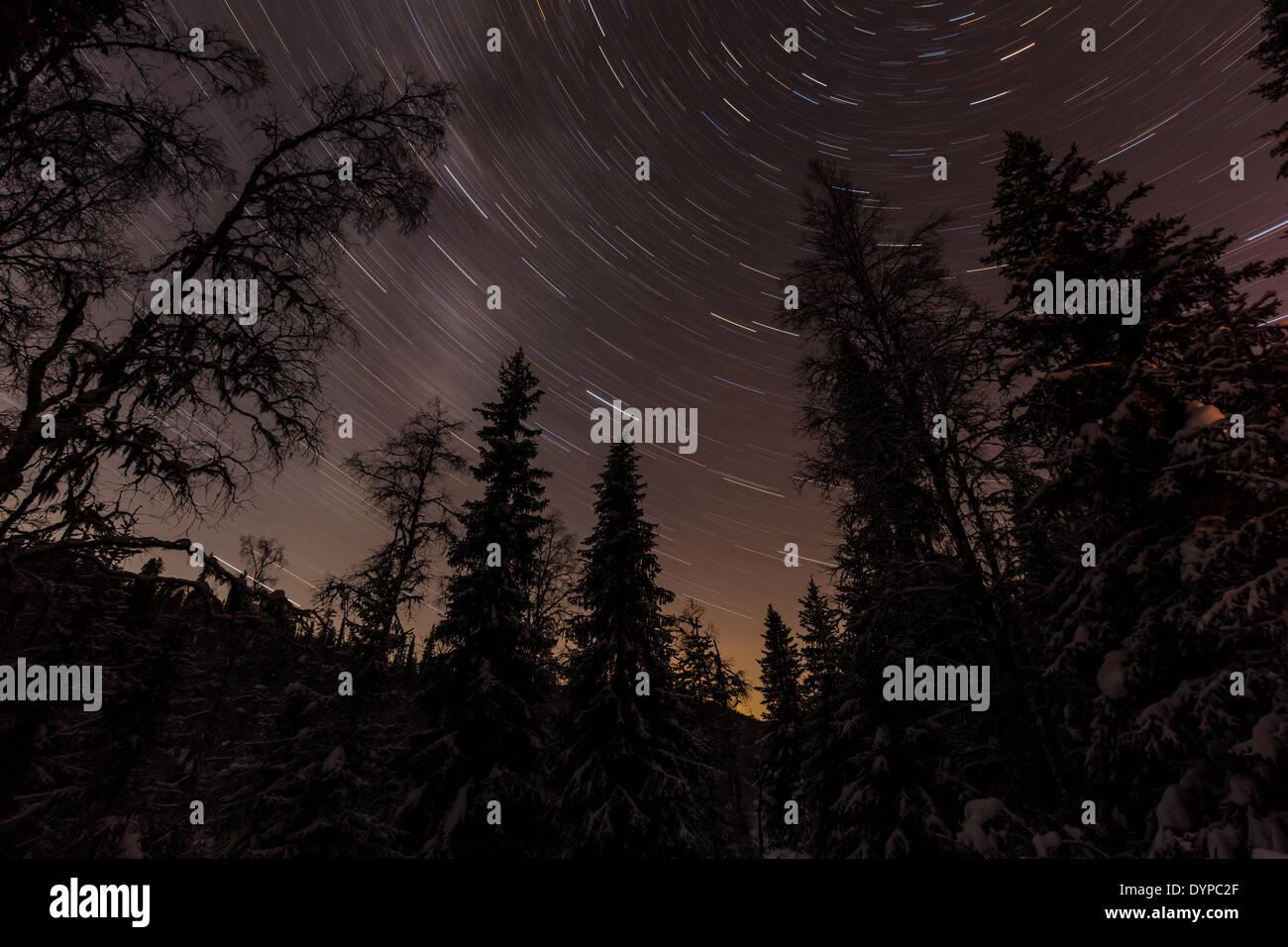 Star trails at Korouoma, Posio, Finland, EU - Stock Image
