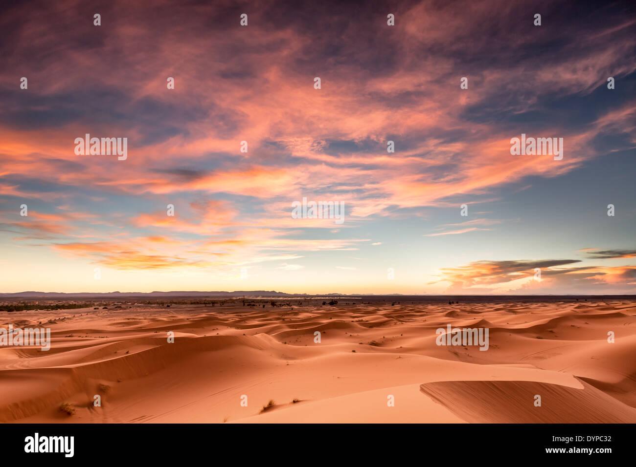 Sunset at Merzouga dunes, Morocco, Africa - Stock Image