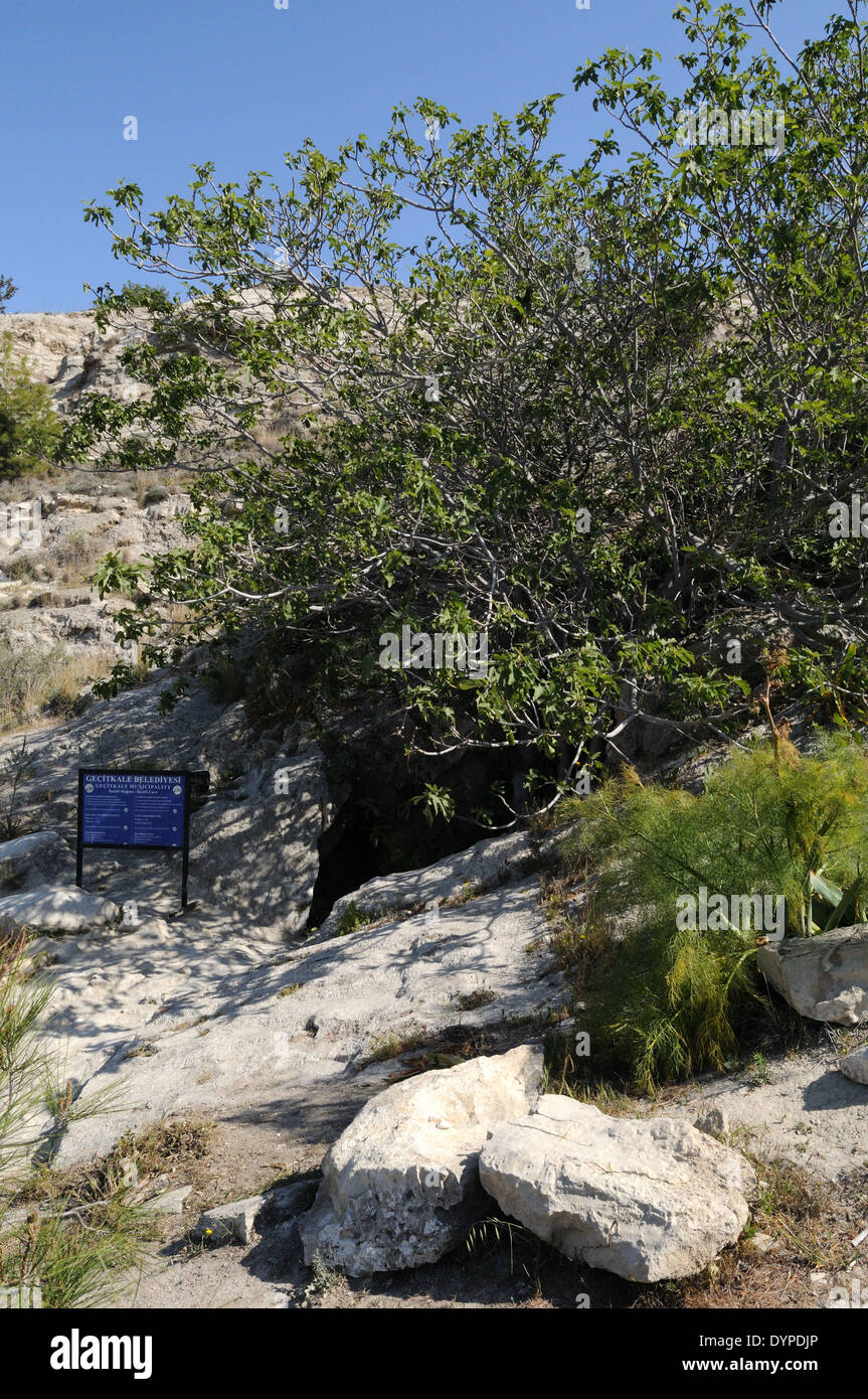 Entrance to Incrili Cave natural cave within a Gypsum Hill Near Iskele Five Finger Mountain Range North Cyprus - Stock Image
