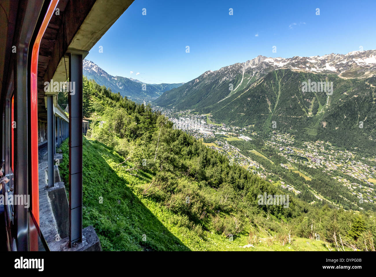 On the way to Mer de Glace glacier in a cog wheel train over looking Chamonix, France, EU Stock Photo