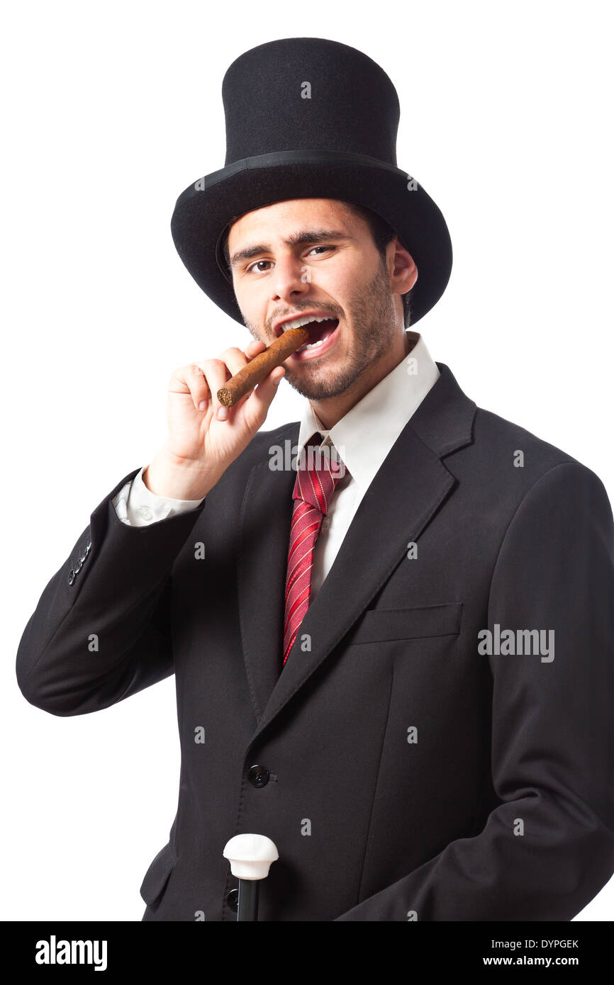 191eeaa126a a rich businessman with a cigar wearing a top hat and carrying a walking  stick -