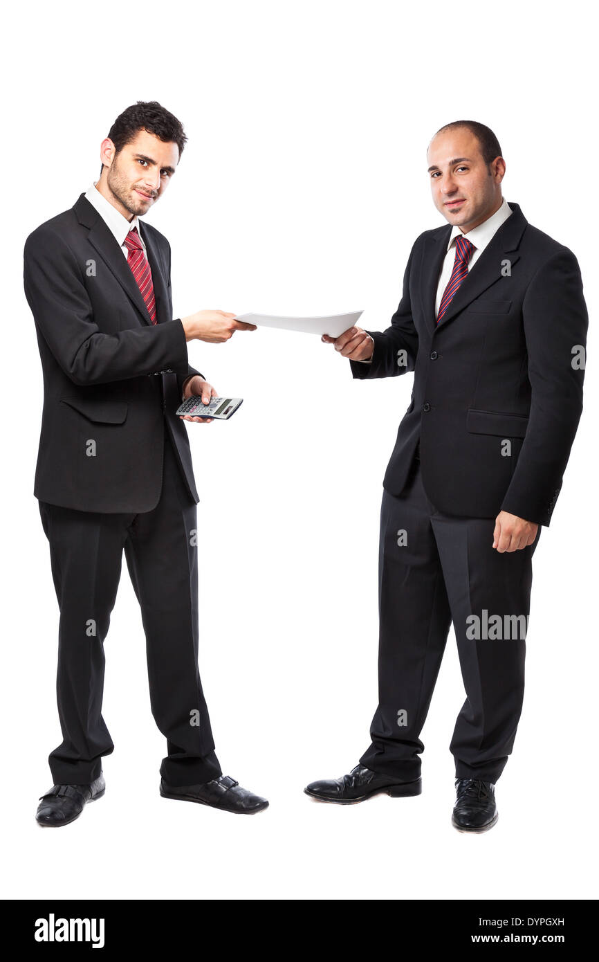 Two Businessman standing on a white background - Stock Image