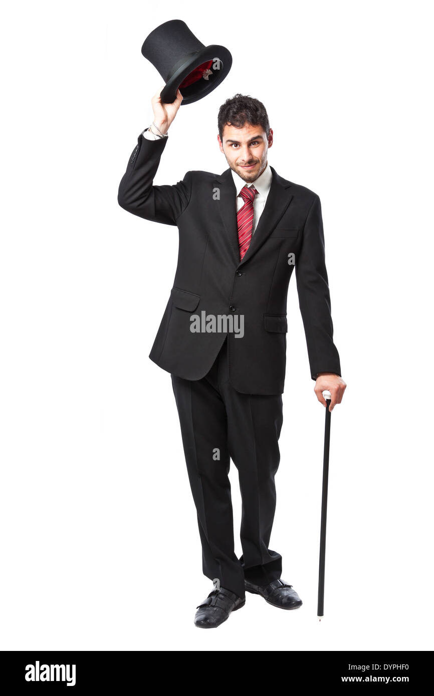 f87b1e8f008 Businessman with Top Hat and walking stick in a suit Stock Photo ...