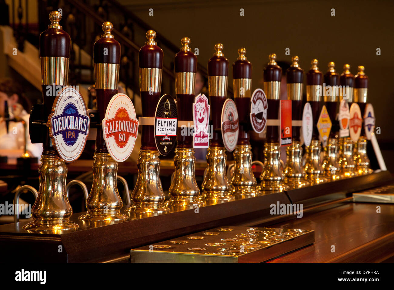 A line of beer taps on the bar of an Edinburgh pub, Scotland Stock ...