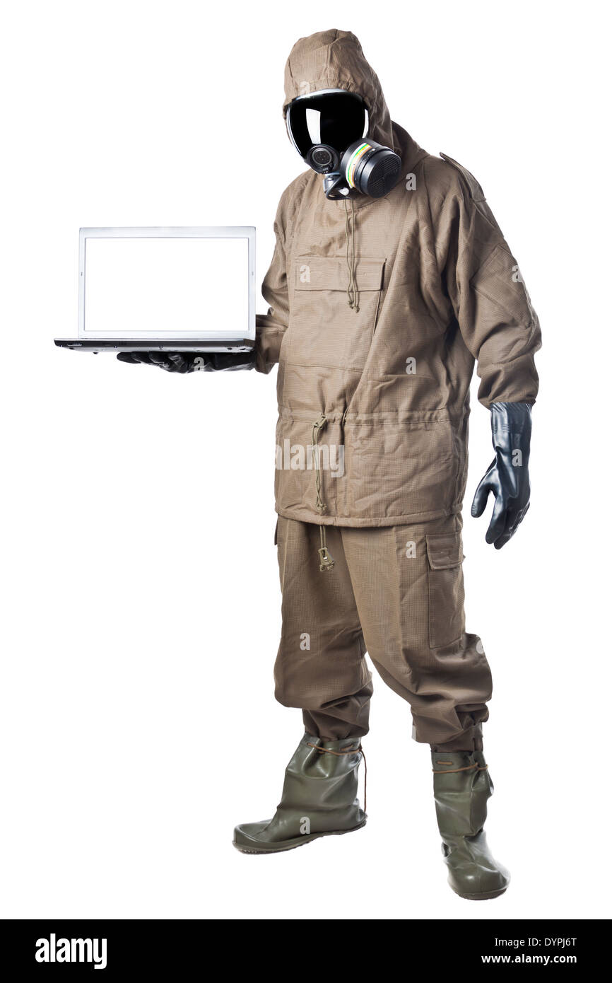 A man wearing an NBC Suit (Nuclear - Biological - Chemical) - Stock Image