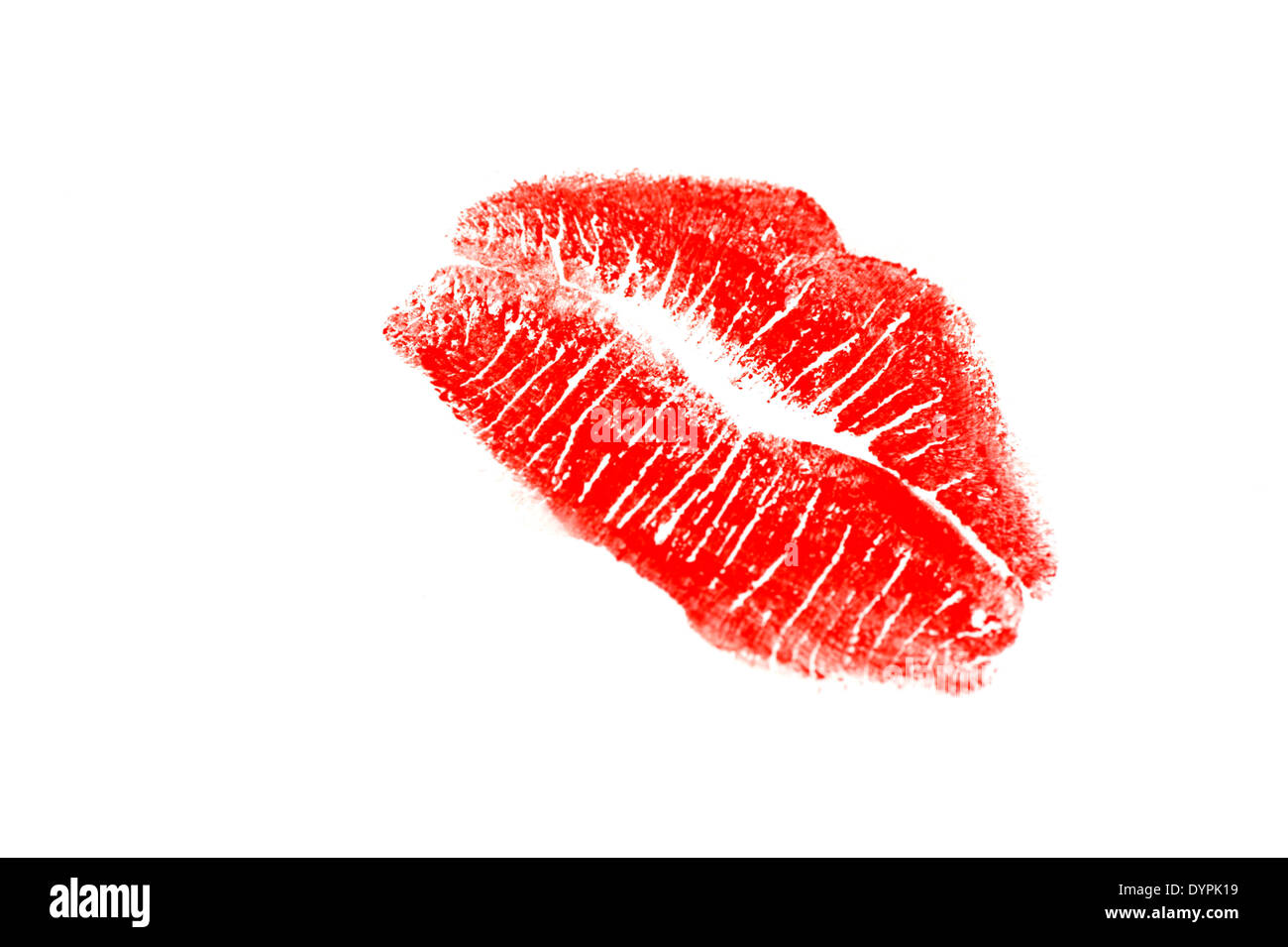 13451c14fa9b Red lipstick kiss on a white background - Stock Image