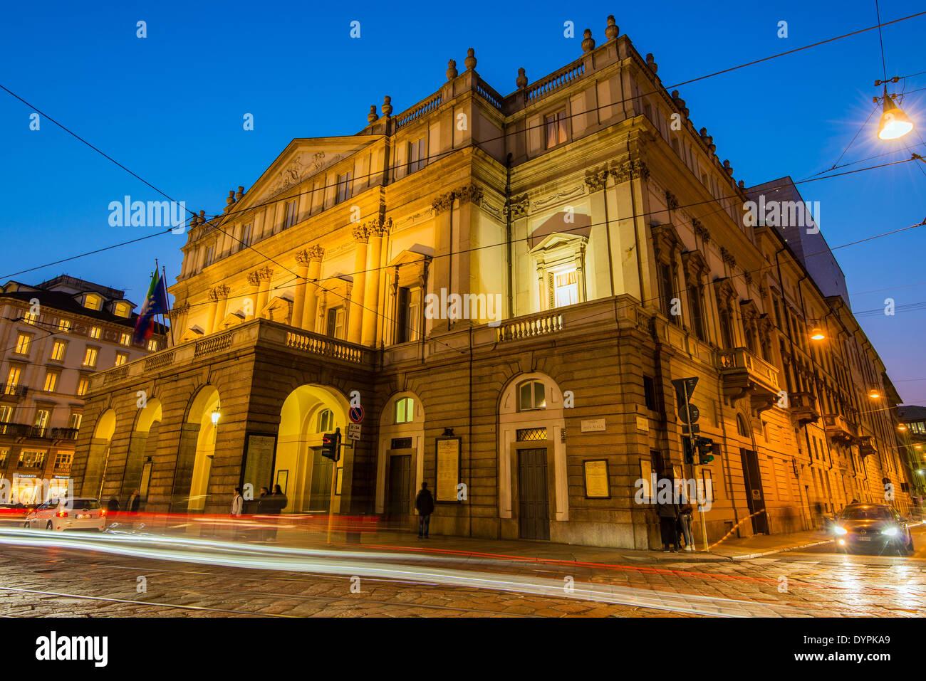 La Scala opera theatre by night, Milan, Lombardy, Italy - Stock Image