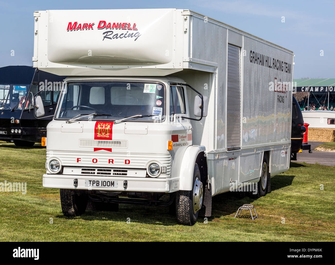 1974 Ford D Series transporter for Mark Daniell Racing, formally Grahan Hill Racing, 72nd Goodwood Members meeting, Sussex, UK - Stock Image