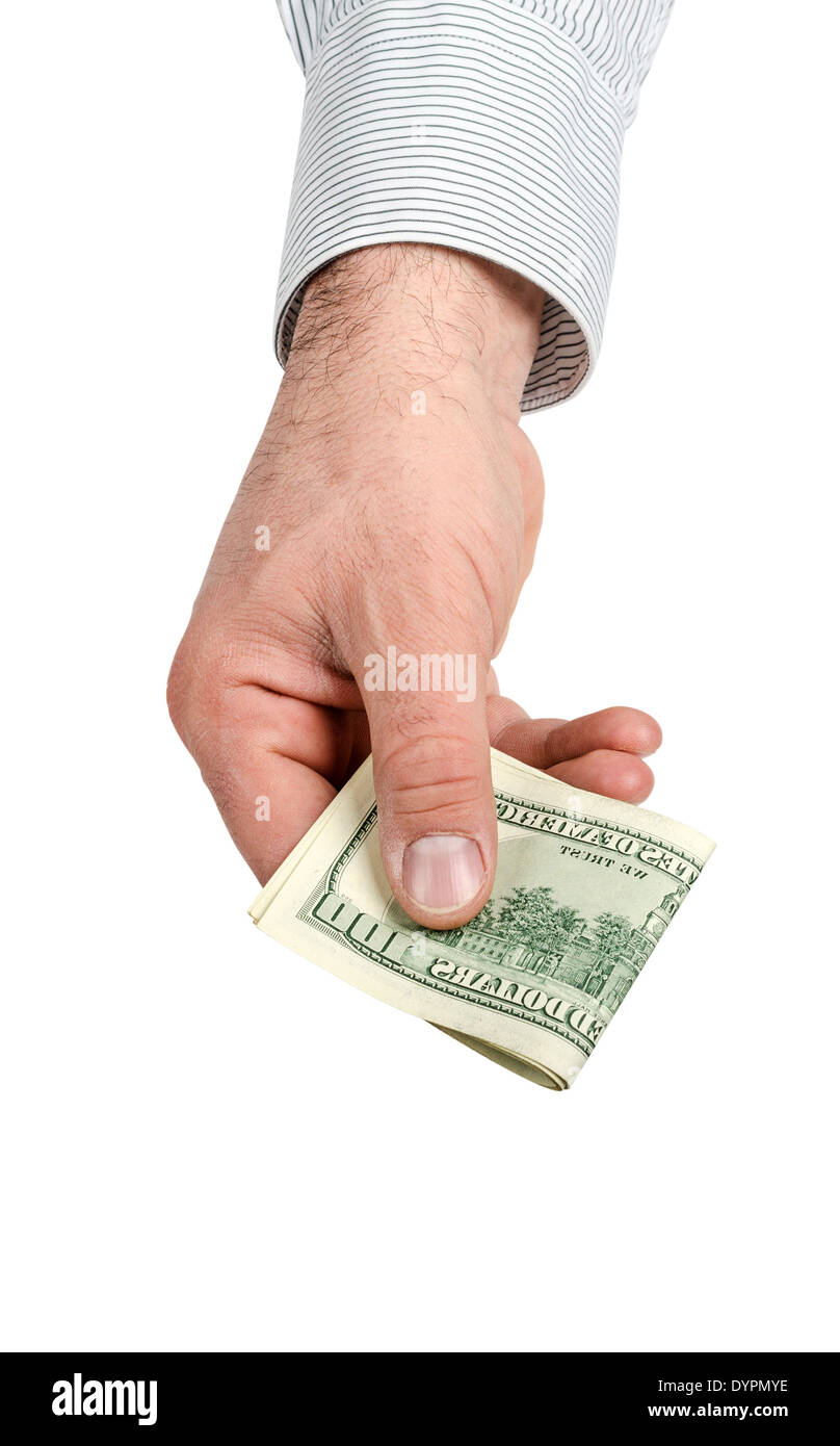 Hand holding money isolated on white background - Stock Image