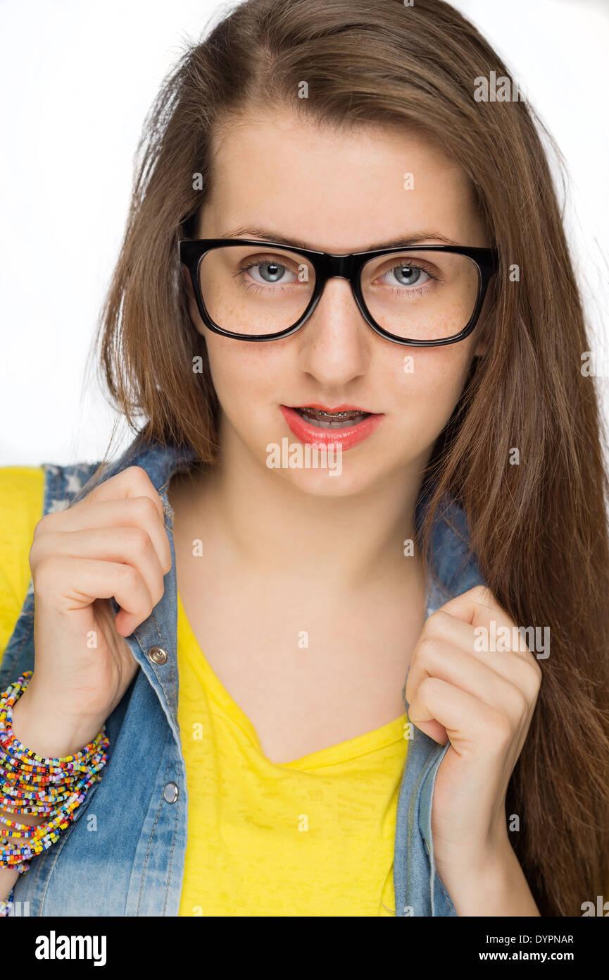 teen glasses brunette nerd