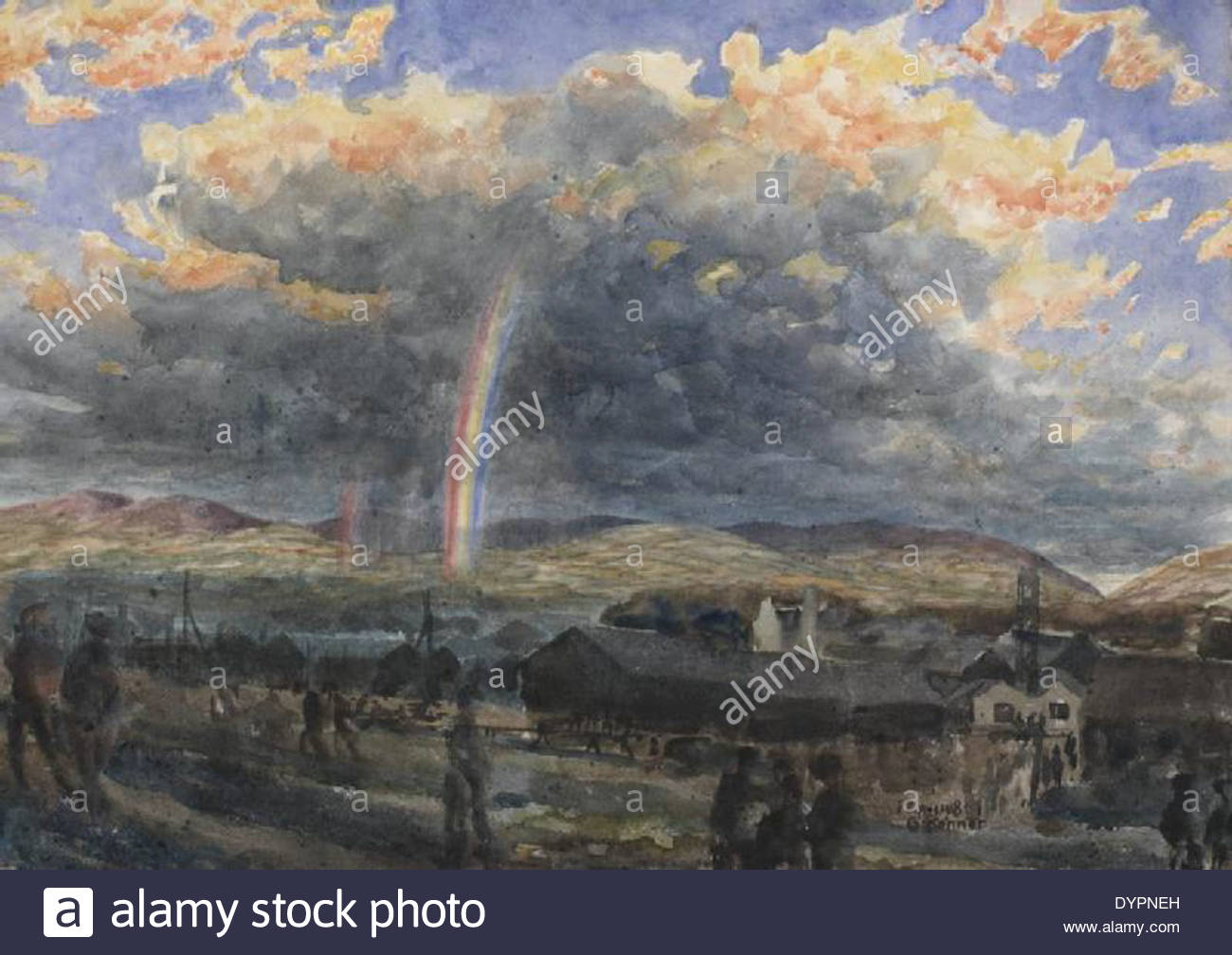 Storm And Rainbow Symbol For Near End Of War 1918 17055 Stock Photo