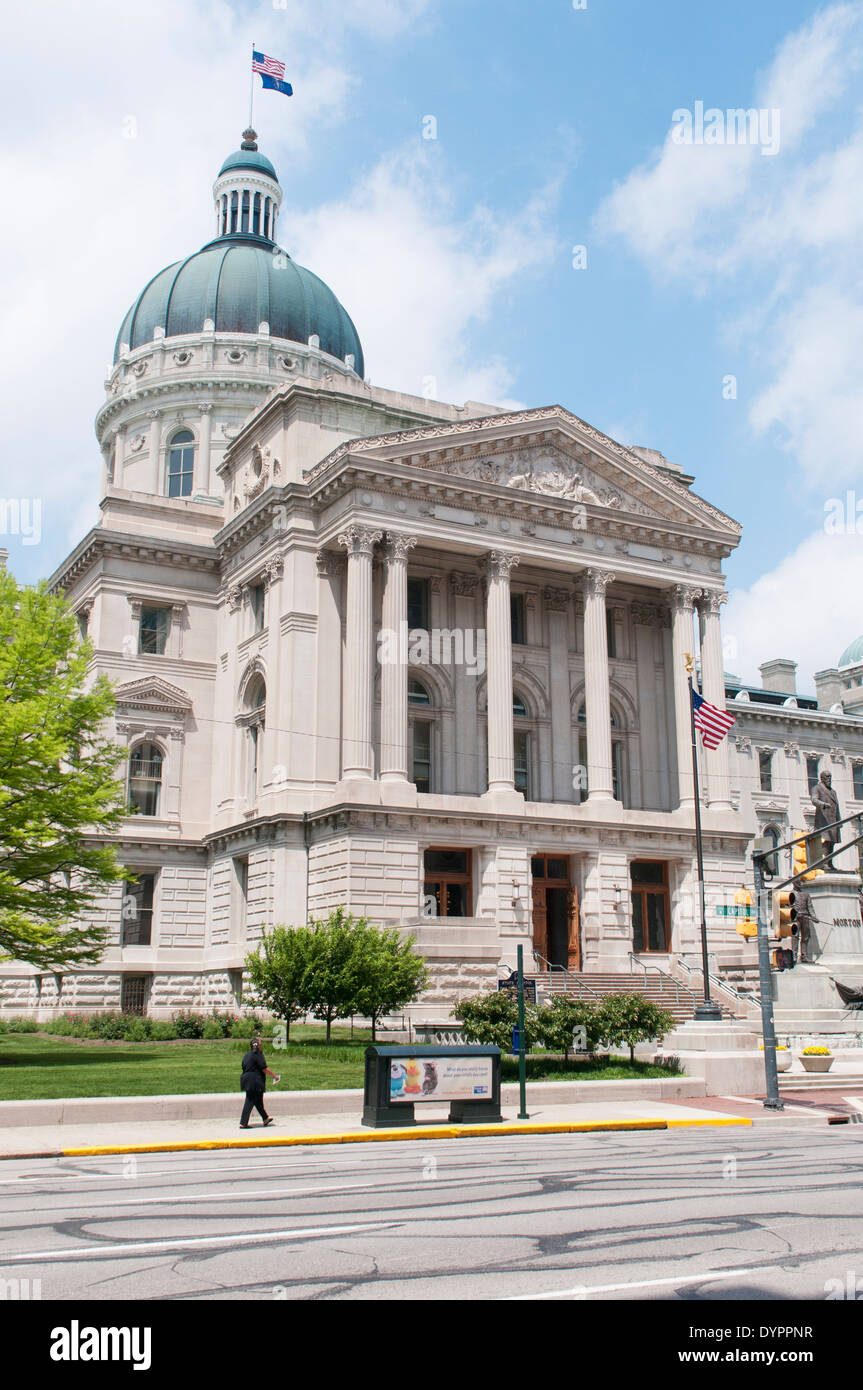 USA, Indiana, Indianapolis.  The Indiana Statehouse houses the General Assembly, Governors office and Supreme Court of Indiana. - Stock Image
