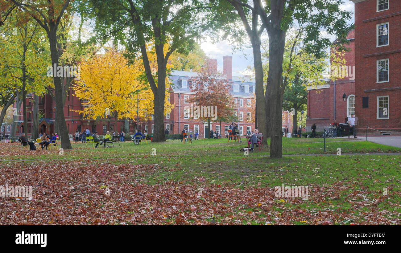 Harvard Yard, old heart of Harvard University campus, on a beautiful Fall day in Cambridge, MA, USA on November 2, 2013. - Stock Image