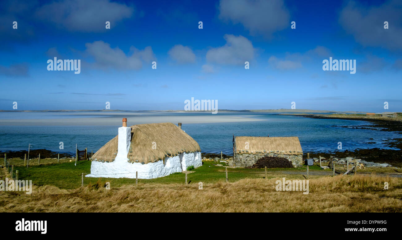 Traditional croft house, North Uist, Outer Hebrides, Scotland - Stock Image
