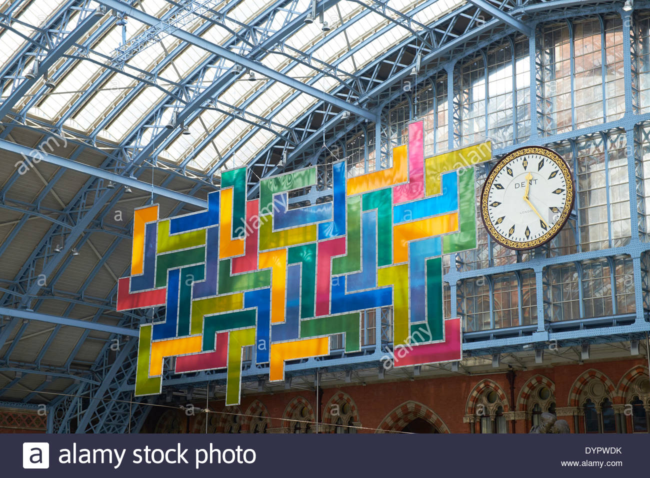 Chromolocomotion by David Batchelor and Dent clock St Pancras International Railway Station - Stock Image