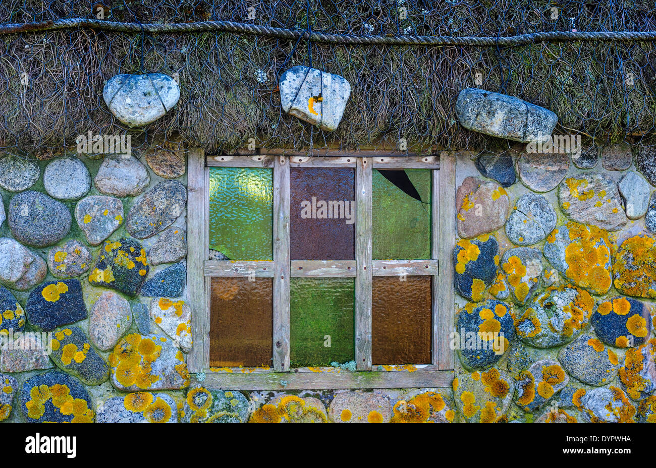 Detail of a cottage window at Homore, Isle of South Uist, Outer Hebrides, Scotland - Stock Image