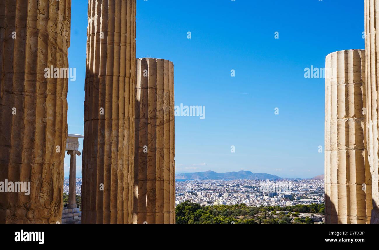 Propylaea, Acropolis of Athens, Athens, Greece - Stock Image