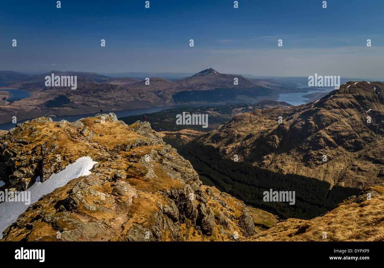 Ben Vane with views overlooking Loch Lomond and Ben Lomond, Scottish Highlands, UK Stock Photo