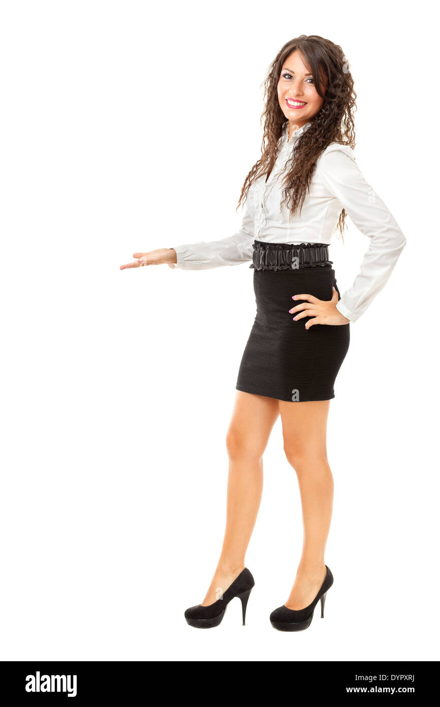 A beautiful and elegant business woman over a white background Stock Photo