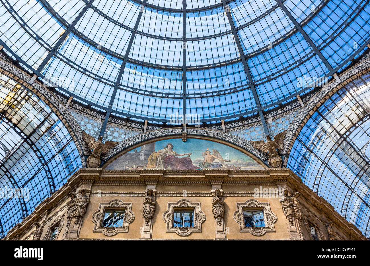 Milan, Italy. 23rd Apr, 2014. the glass roofed arcade of Vittorio Emanuele gallery Credit:  Realy Easy Star/Alamy Live News - Stock Image